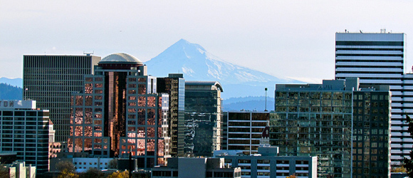 Portland, Oregon skyline, featuring Mount Hood