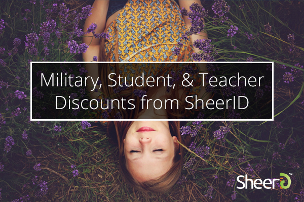 Military, Student, and Teacher Discounts from SheerID, a young woman lies in a field of purple flowers in the background