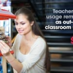 A teacher buying classroom supplies using a discount she received through an exclusive, gated offer. Teacher discount usage remains high as out-of-pocket classroom spending soars to $652.