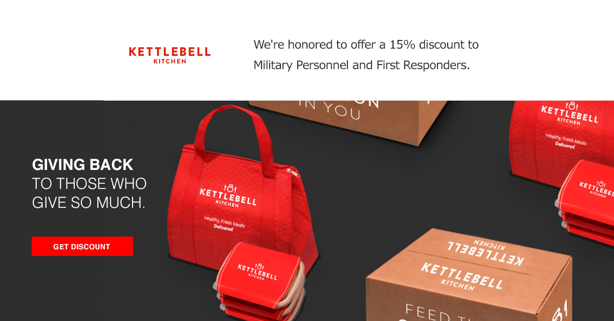 An assortment of tailored meals prepared by Kettlebell Kitchen. The company uses gated offers to reward military members with a 15% discount on their subscription service.