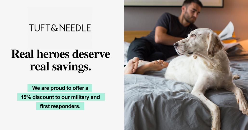 """An example of Tuft&Needle's personalized promotion to the military and first responders: a picture of a man and dog on a bed, with copy that reads, """"Real heroes deserve real savings. We are proud to offer a 15% discount to our military and first responders."""
