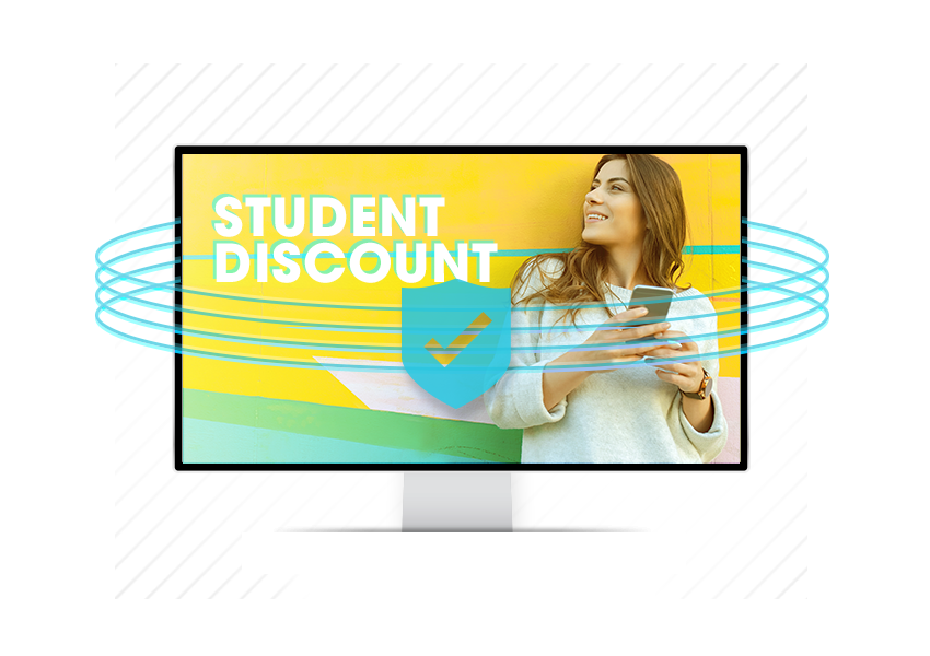 Female student on screen protected graphic from SheerID
