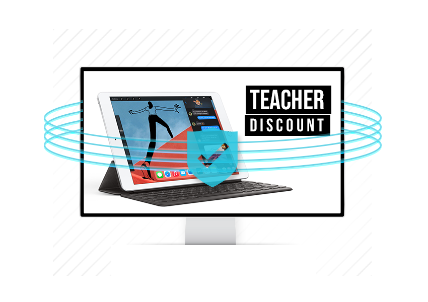 Teacher discount on a screen from SheerID