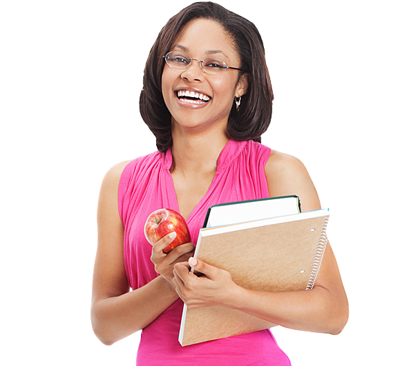 Female teacher with glasses holding books and an apple from SheerID